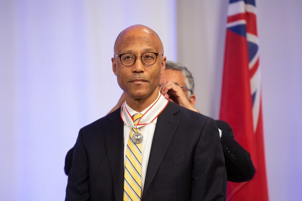 Frank Walwyn receiving a 2019 Law Society Medal