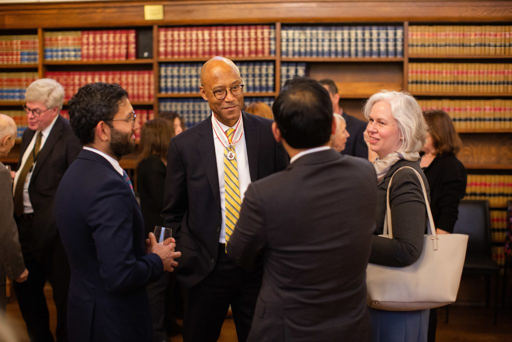 Frank Walwyn speaks with attendees following 2019 Law Society Award ceremony