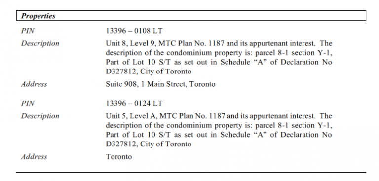 Chart of properties listed in the registered claim for lien that might appear in example of a unit and a parking space