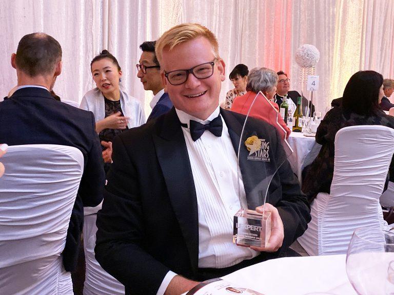 James Kosa with his 2019 Rising Star Award at the Gala on November 7, 2019