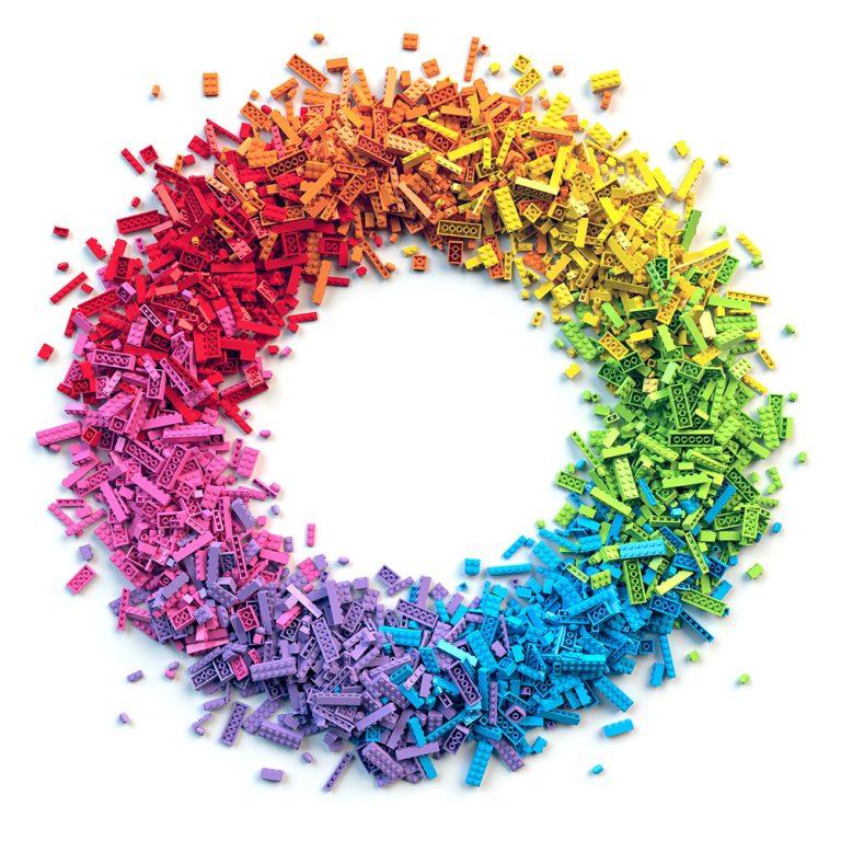 Rainbow toy blocks circle frame. 3D Rendering